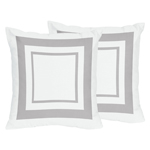 White and Gray Modern Hotel Decorative Accent Throw Pillows - Set of 2