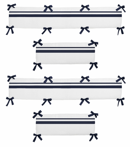 White and Navy Hotel Collection Crib Bumper by Sweet Jojo Designs - Click to enlarge