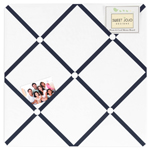White and Navy Hotel Fabric Memory/Memo Photo Bulletin Board by Sweet Jojo Designs