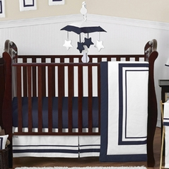 White and Navy Modern Hotel Baby Bedding - 11pc Crib Set by Sweet Jojo Designs