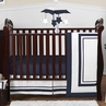 White and Navy Modern Hotel Baby Bedding - 4pc Crib Set by Sweet Jojo Designs
