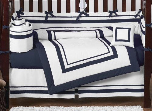 White And Navy Modern Hotel Baby Bedding 9pc Crib Set By Sweet Jojo Designs Only 189 99