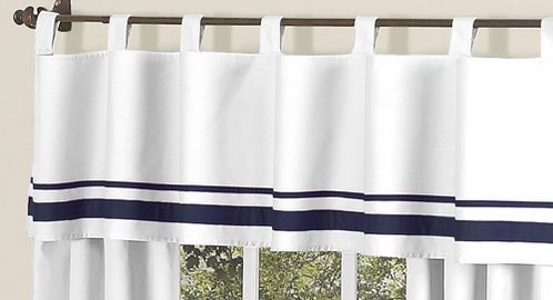 White and Navy Hotel�Modern Window Valance by Sweet Jojo Designs - Click to enlarge