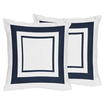 White and Navy Modern Hotel Decorative Accent Throw Pillows - Set of 2