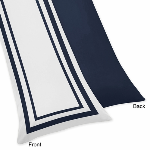 White and Navy Modern Hotel Full Length Double Zippered Body Pillow Case Cover - Click to enlarge