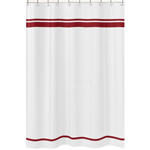 White and Red Hotel Kids Bathroom Fabric Bath Shower Curtain by Sweet Jojo Designs