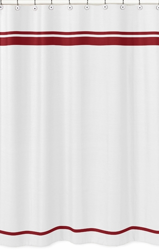 White and Red Hotel Kids Bathroom Fabric Bath Shower Curtain by Sweet Jojo Designs - Click to enlarge