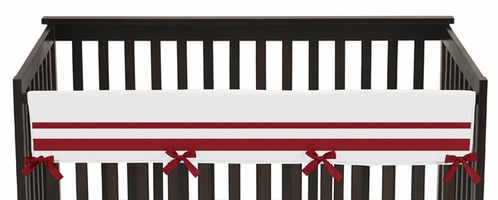 White and Red Modern Hotel Baby Crib Long Rail Guard Cover by Sweet Jojo Designs - Click to enlarge