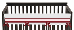 White and Red Modern Hotel Baby Crib Long Rail Guard Cover by Sweet Jojo Designs