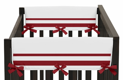 White and Red Modern Hotel Baby Crib Side Rail Guard Covers by Sweet Jojo Designs - Set of 2 - Click to enlarge