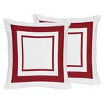 White and Red Modern Hotel Decorative Accent Throw Pillows - Set of 2