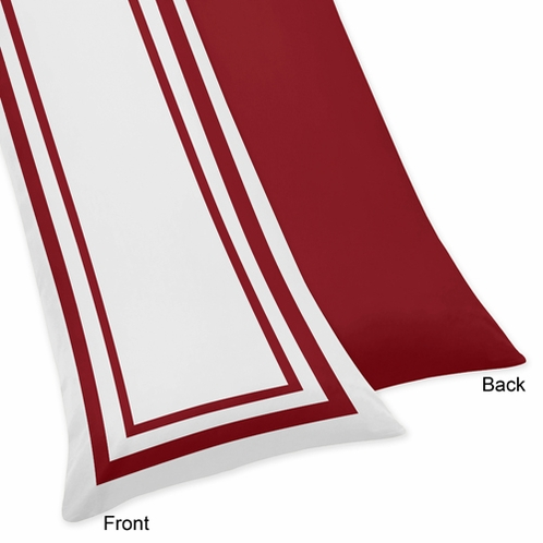 White and Red Modern Hotel Full Length Double Zippered Body Pillow Case Cover by Sweet Jojo Designs - Click to enlarge