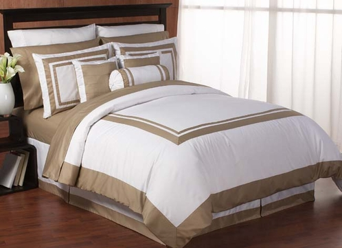 Relatively White and Taupe Hotel Duvet Comforter Cover 6-pc Bedding Set only  AV35