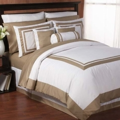 White and Taupe Hotel Duvet Comforter Cover 6-pc Bedding Set