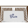 White Be Brave Baby Boy Girl or Toddler Fitted Crib Sheet with Navy Blue Inspirational Quote by Sweet Jojo Designs