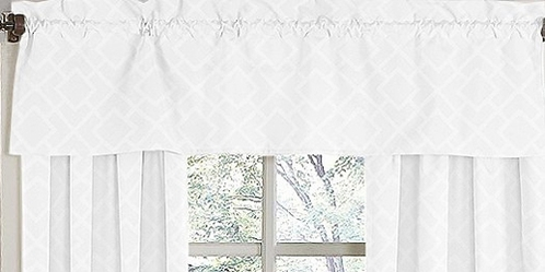 White Diamond Jacquard Modern�Window Valance by Sweet Jojo Designs - Click to enlarge