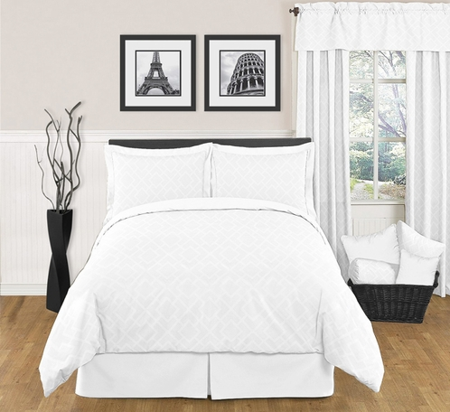 White Diamond Jacquard Modern Contemporary 3pc Bedding Set - Click to enlarge