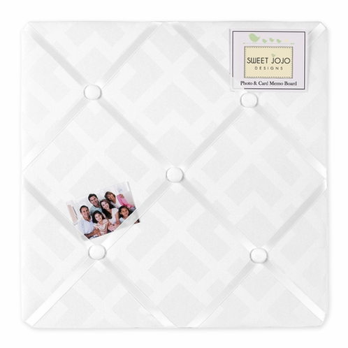 White Diamond Jacquard Modern Fabric Memory/Memo Photo Bulletin Board by Sweet Jojo Designs - Click to enlarge