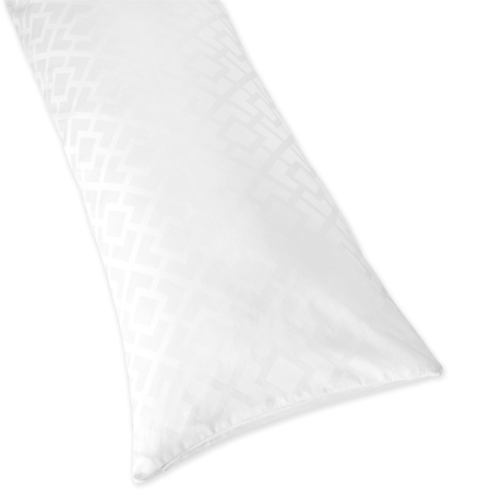 White Diamond Jacquard Modern Full Length Double Zippered Body Pillow Case Cover by Sweet Jojo Designs - Click to enlarge