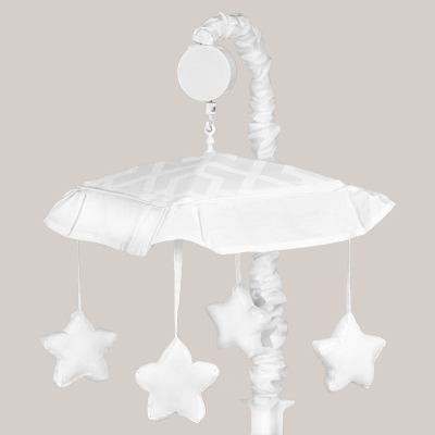 White Diamond Jacquard Modern Musical Baby Crib Mobile by Sweet Jojo Designs - Click to enlarge