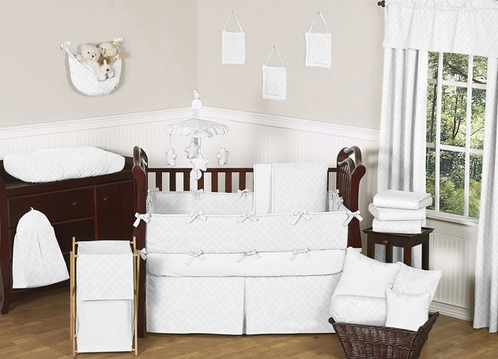 White Diamond Jacquard Modern Baby Bedding - 9pc Crib Set by Sweet Jojo Designs - Click to enlarge