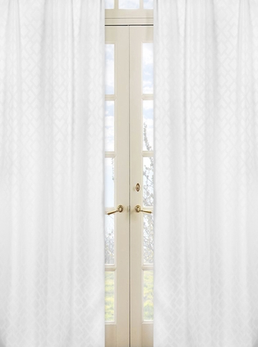 White Diamond Jacquard Modern Window Treatment Panels by Sweet Jojo Designs - Set of 2 - Click to enlarge