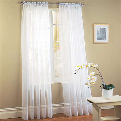 White Sheer Voile Window Panel Coverings - Set of 2 - Click to enlarge