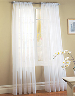 White Sheer Voile Window Panel Coverings - Set of 2