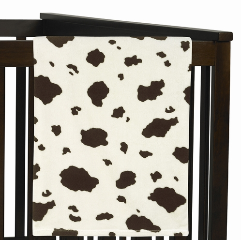 Wild West Cow Print Plush Fleece Baby Receiving Blanket by Sweet Jojo Designs - Click to enlarge