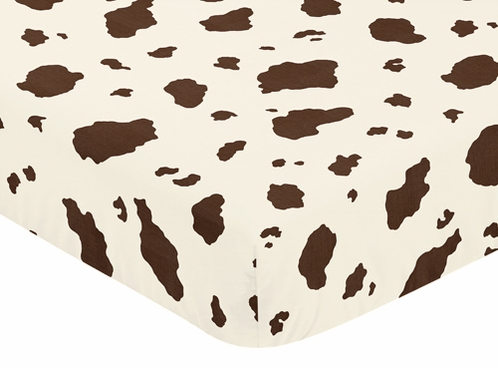 Wild West Cowboy Fitted Crib Sheet for Baby and Toddler Bedding Sets by Sweet Jojo Designs - Cow Print - Click to enlarge