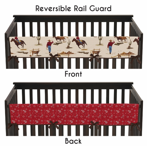 Wild West Cowboy Western Baby Crib Long Rail Guard Cover by Sweet Jojo Designs - Click to enlarge