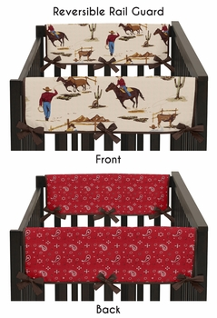 Wild West Cowboy Western Baby Crib Side Rail Guard Covers by Sweet Jojo Designs - Set of 2