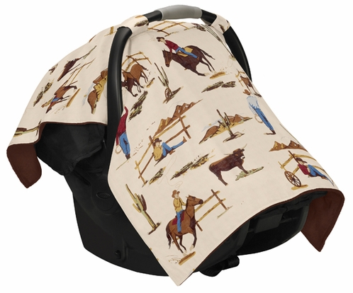 Wild West Cowboy Western Baby Infant Car Seat Carrier Stroller Cover by Sweet Jojo Designs - Click to enlarge