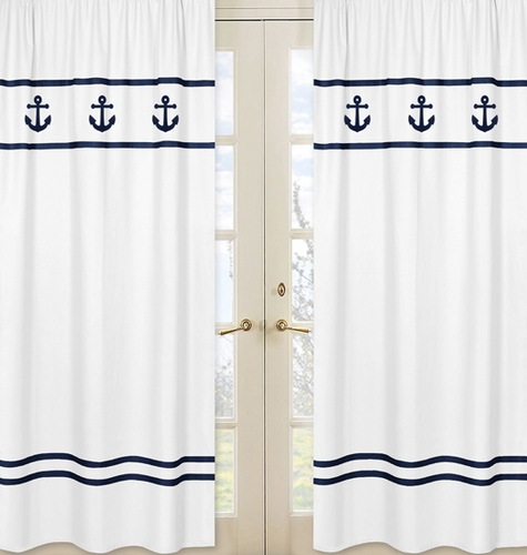 Window Treatment Panels for Anchors Away Nautical Collection - Set of 2 - Click to enlarge