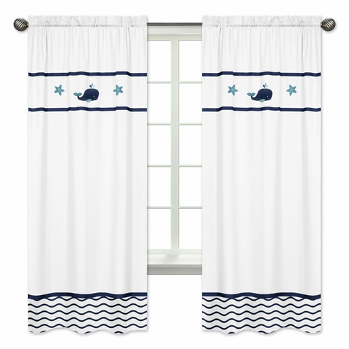 Window Treatment Panels for Blue Whale Collection by Sweet Jojo Designs - Set of 2 - Click to enlarge