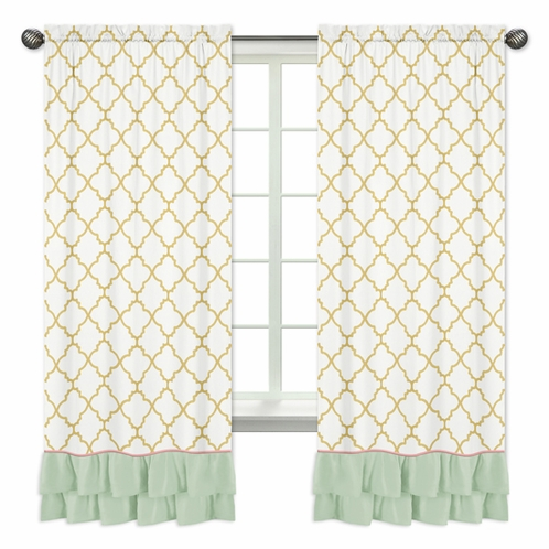 Window Treatment Panels for Gold, Mint, Coral and White Ava Collection by Sweet Jojo Designs - Set of 2 - Click to enlarge