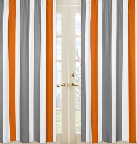 Window Treatment Panels for Gray and Orange Stripe Panels - Set of 2 - Click to enlarge
