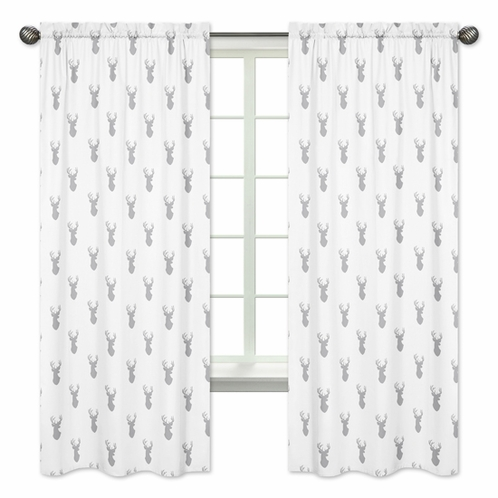 Window Treatment Panels for Grey and White Woodland Deer Collection - Set of 2 - Click to enlarge