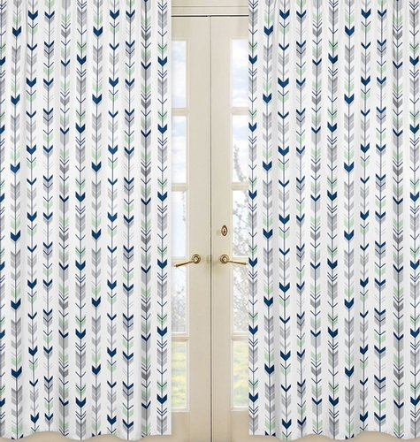Window Treatment Panels for Grey, Navy Blue and Mint Woodland Arrow Collection by Sweet Jojo Designs - Set of 2 - Click to enlarge