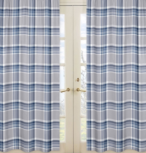 Window Treatment Panels for Navy Blue and Grey Plaid Boys Collection - Set of 2 - Click to enlarge