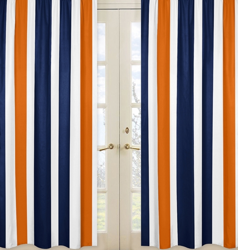 Window Treatment Panels for Navy Blue and Orange Stripe Collection - Set of 2 - Click to enlarge