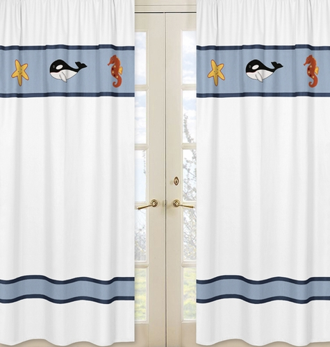 Window Treatment Panels for Ocean Blue Sea Life Collection - Set of 2 - Click to enlarge