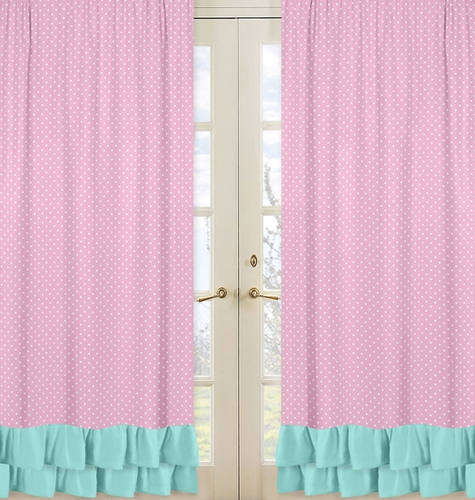 Window Treatment Panels For Pink Gray And Turquoise Skylar Collection Set Of 2 Only
