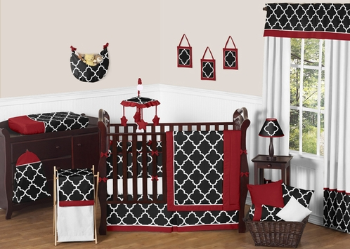 Red and Black Trellis Baby Bedding - 9pc Crib Set by Sweet Jojo Designs - Click to enlarge