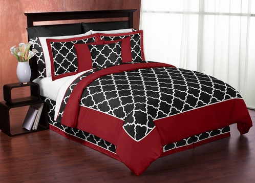 Red and Black Trellis 3pc Full / Queen Bedding Set by Sweet Jojo Designs - Click to enlarge