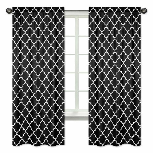 Window Treatment Panels for Red and Black Trellis Collection by Sweet Jojo Designs - Set of 2 - Click to enlarge
