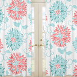 Window Treatment Panels for Turquoise and Coral Emma Collection- Set of 2