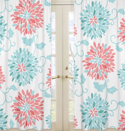 Window Treatment Panels for Turquoise and Coral Emma Collection- Set of 2 - Click to enlarge