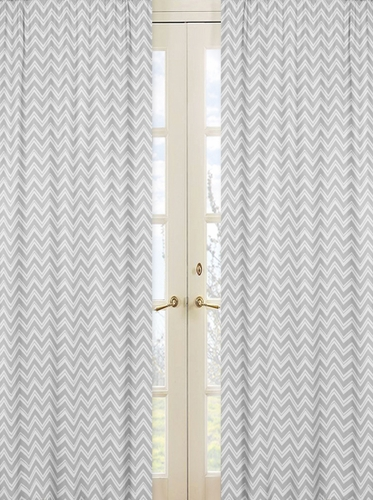 Window Treatment Panels for Yellow and Grey Chevron Zig Zag Bedding by Sweet Jojo Designs - Set of 2 - Click to enlarge