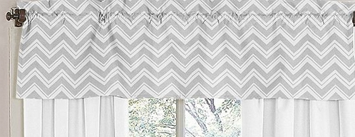 Window Valance for Black and Gray Zig Zag Chevron Bedding Collection by Sweet Jojo Designs - Click to enlarge